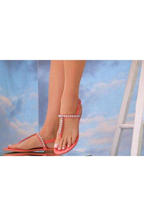 Oblavion Kadın Kırmızı  Hakiki Deri Günlük Taşlı Sandalet 2
