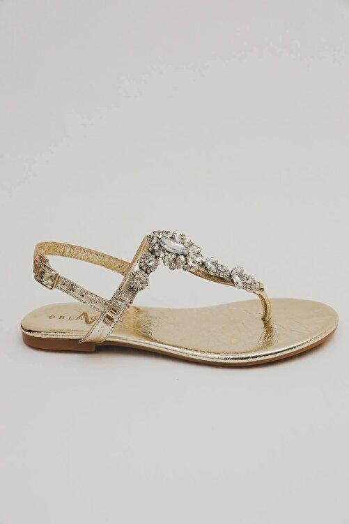 Oblavion Kadın Altın Hakiki Deri Günlük Taşlı Sandalet 1