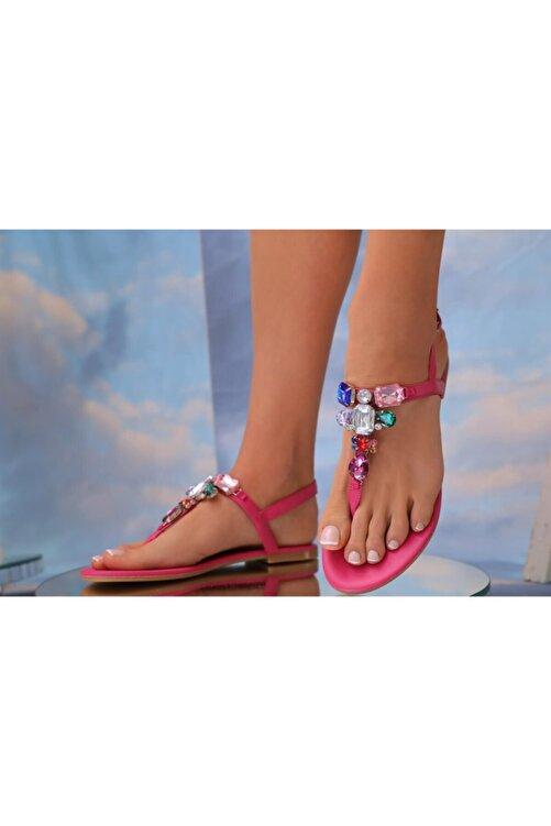 Oblavion Lavion Hakiki Deri Fuşya Günlük Taşlı Kadın Sandalet 2