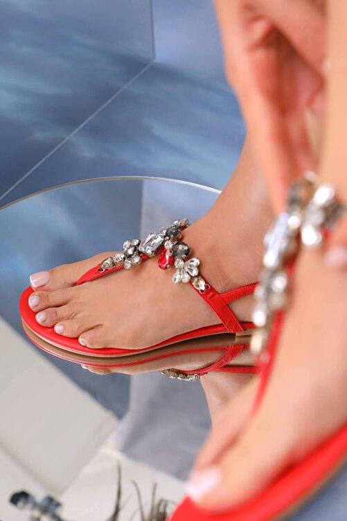 Oblavion Kadın Kırmızı Çok Renkli Günlük Taşlı Sandalet 2