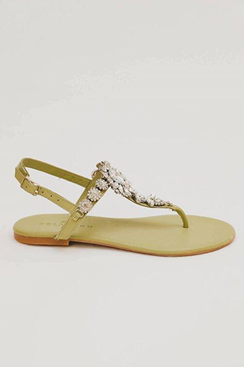 Oblavion Kadın  Hakiki Deri Mint Günlük Taşlı Sandalet 2
