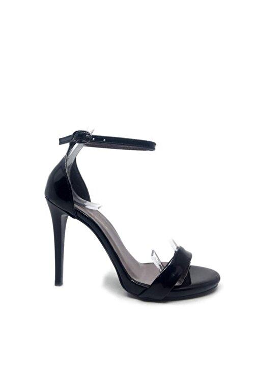 trendytopuk Siyah Rugan Tek Bant Topuklu Sandalet 2