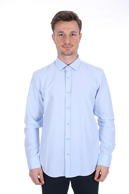 Diandor Erkek Açık Mavi Uzun Kollu Slim Fit Gömlek 1