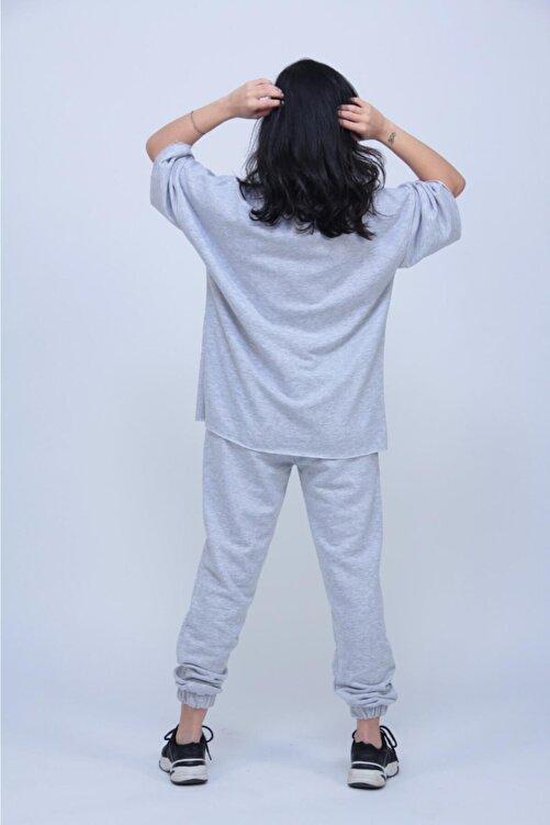 ronay giyim Kadın Gri Oversize Dizi Yırtık Eşofman Takımı 2