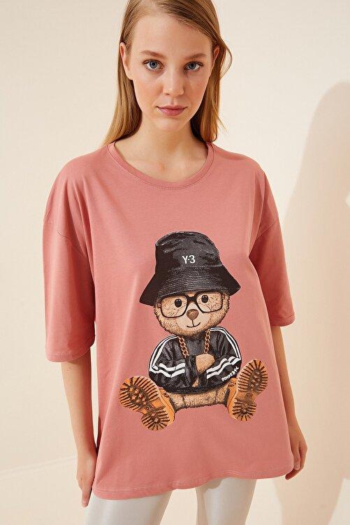Happiness İst. Kadın Gül Kurusu Baskılı Oversize Uzun Penye T-shirt ZV00105 2