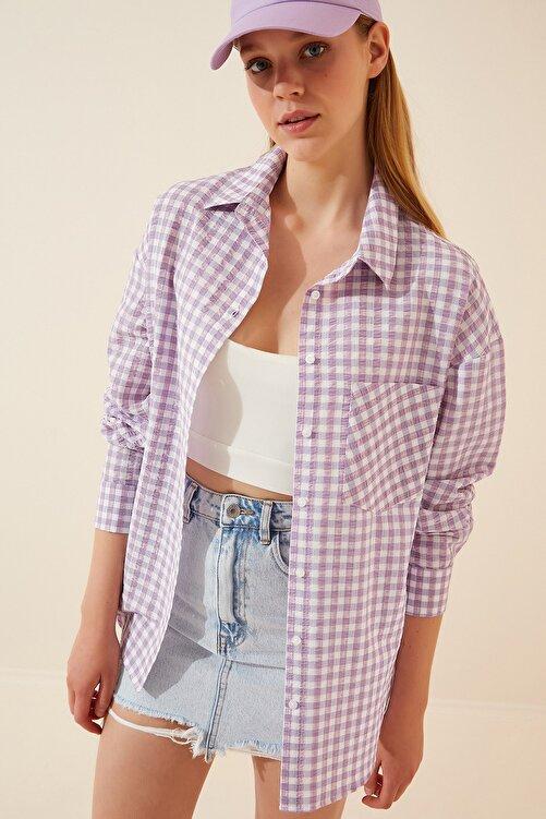 Happiness İst. Kadın Açık Lila Kareli Hafif Oversize Gömlek DD00898 2