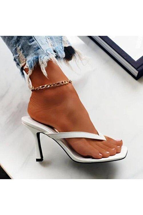 TrendyAnka Kadın Beyaz 10cm Topuklu Parmak Arası Küt Kare Burunlu Stiletto Ayakkabı Terlik Sandalet 2