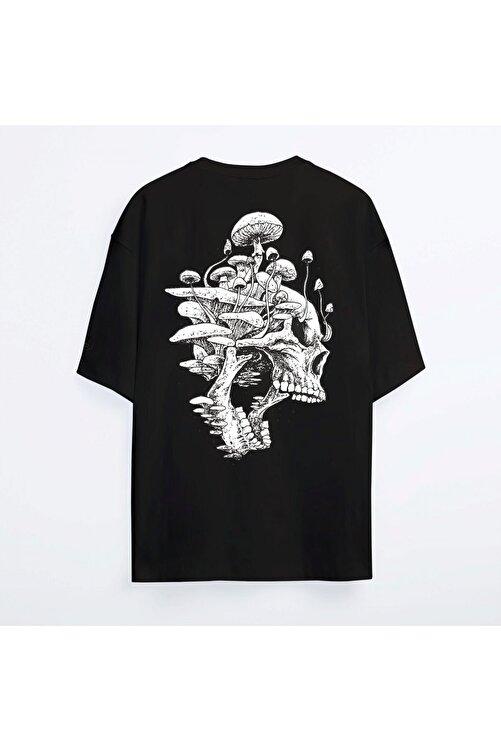 Shout Unisex Siyah Oversize Mushroom Skull Oldschool T-shirt 2