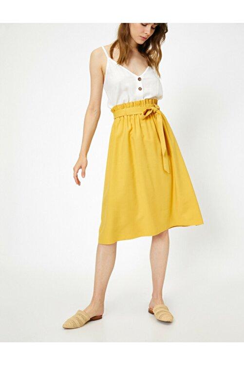 Koton Kadın Sarı Beli Baglamali Etek 0KAK72541UW 1