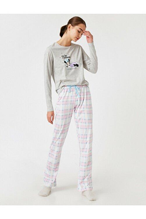 Koton Kadın Gri Disney Lisanslı Pijama Takımı 1