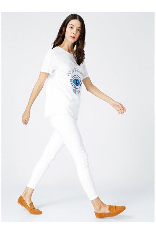 Fabrika Kadın Baskılı Bisiklet Yaka Beyaz Tişört 2