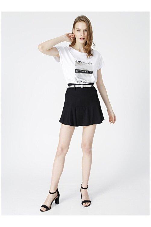 Fabrika Kadın Beyaz Baskılı Kısa Kol T-shirt 2
