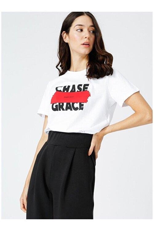 Fabrika Kadın Beyaz Baskılı Tshirt 2