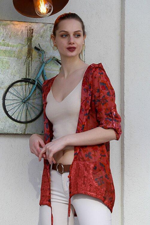 Chiccy Kadın Kiremit Kapüşonlu Ottoman Karanfil Desenli Cepli Ceket M10210100CE99025 2