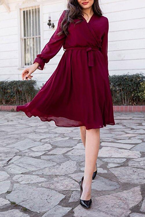 Elbise Delisi Kadın Bordo Kruvaze Yaka Şifon Elbise 1