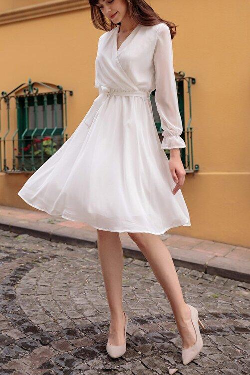 Elbise Delisi Kadın Beyaz Kruvaze Yaka Şifon Elbise Boy 100 cm 2