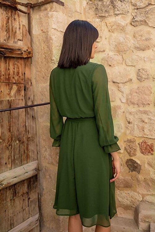 Elbise Delisi Kadın Haki Kruvaze Yaka Şifon Elbise 2