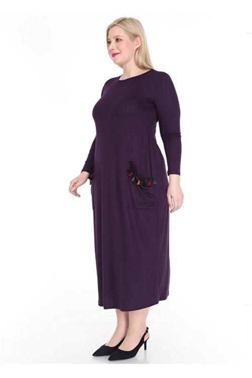 Şirin Butik Kadın Cepleri Püsküllü Uzun Kollu Viskon Mürdüm Elbise 2