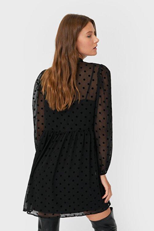 Stradivarius Kadın Siyah Puantiye Desenli Kısa Elbise 06306706 2