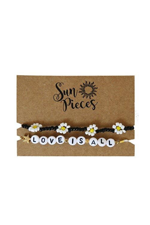 Sun Pieces Love Is All Renkli Yazılı Bileklik Seti 1