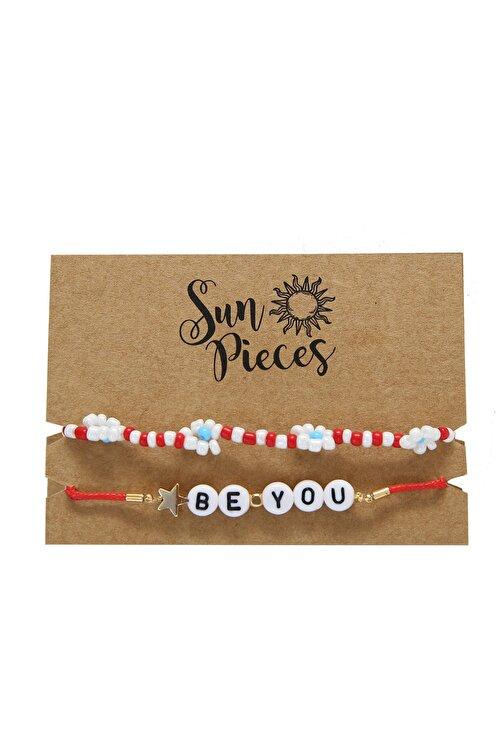 Sun Pieces Be You Renkli Yazılı Bileklik Seti 1