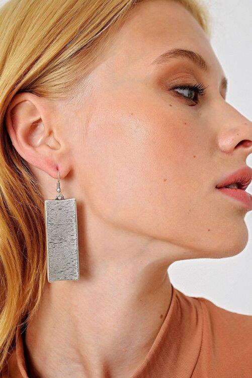 Trend Alaçatı Stili Kadın Sılver Antik Eskitme Dikdörtgen Küpe ALC-A1983 1