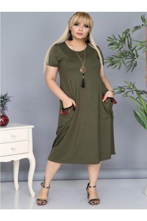 Şirin Butik Kadın Haki Cepleri Püsküllü Viskon Likralı Elbise 1