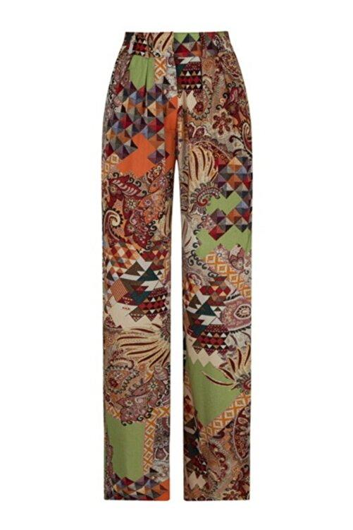 CEREN OCAK Kadın Kahverengi Desenli Pantolon 1