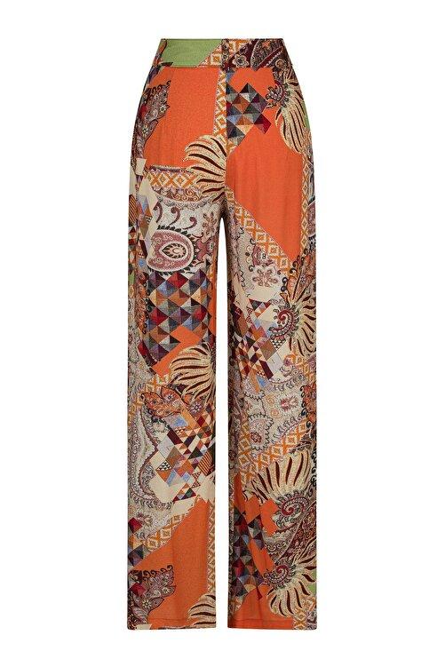 CEREN OCAK Kadın Kahverengi Desenli Pantolon 2