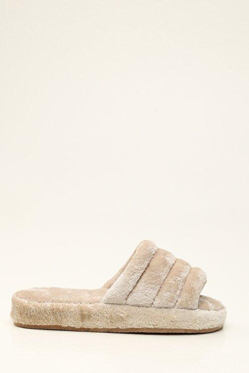 Violetta Shoes Kadın Bej Kadife Ev Terliği 1