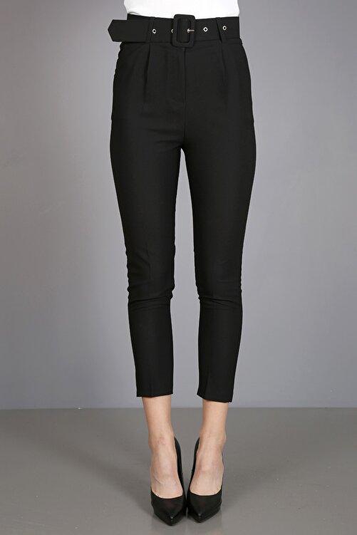 ChiChero Kadın Siyah Pilesiz Kalın Kemerli Kumaş Pantolon 2