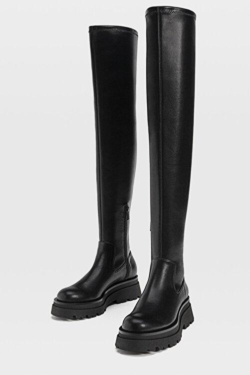 Stradivarius Kadın Siyah Düz, Tırtıklı Tabanlı, Uzun Çizme 19851670 2
