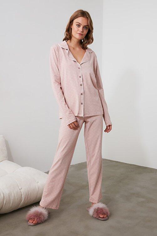 TRENDYOLMİLLA Pudra Örme Pijama Takımı THMAW20PT0265 1