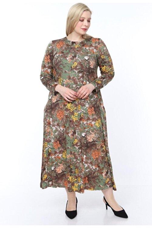 Şirin Butik Kadın Yeşil Büyük Beden Desenli Uzun Kol Elbise 2