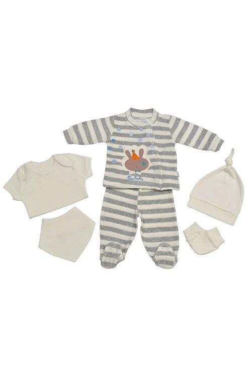 Pierre Cardin Baby Pierre Cardin Kadife Yenidoğan Takımlı Bebek Seti Gri-çizgili 1