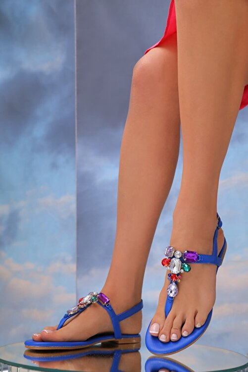 Oblavion Kadın Mavi Hakiki Deri Günlük Taşlı Sandalet 2
