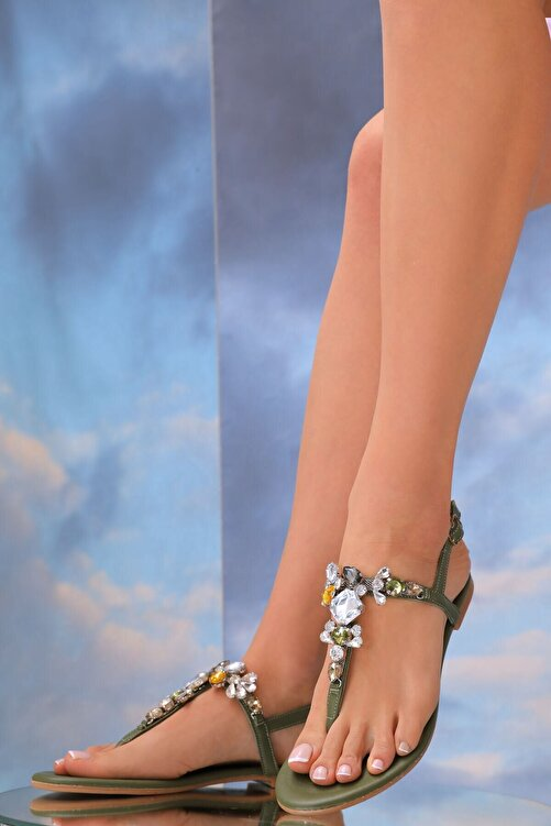 Oblavion Kadın Haki Yeşil Lavion Hakiki Deri Günlük Taşlı Sandalet 1