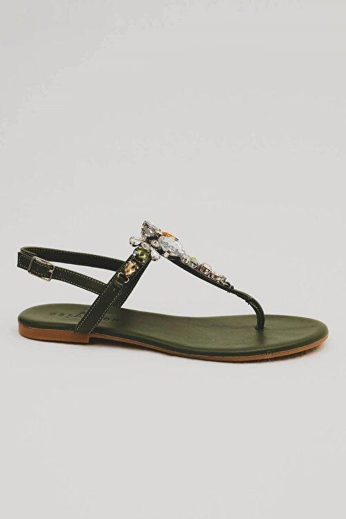 Oblavion Kadın Haki Yeşil Lavion Hakiki Deri Günlük Taşlı Sandalet 2