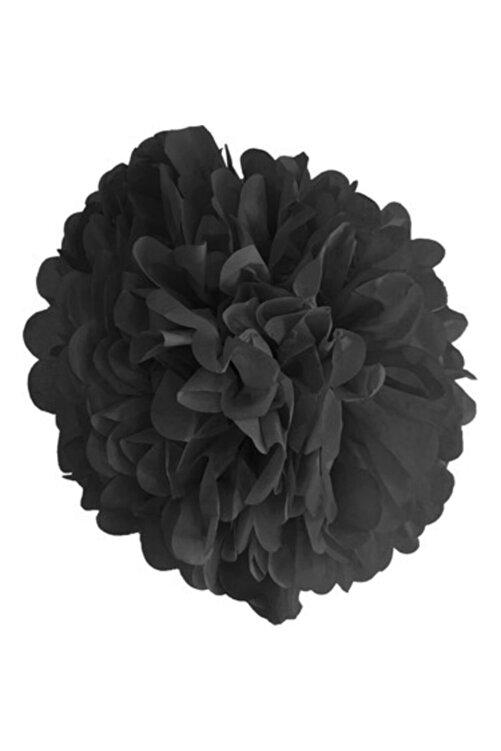 Happyland 1 Adet Siyah Ponpon Gramafon Çiçek Kağıt Doğum Günü Parti Süsü 1
