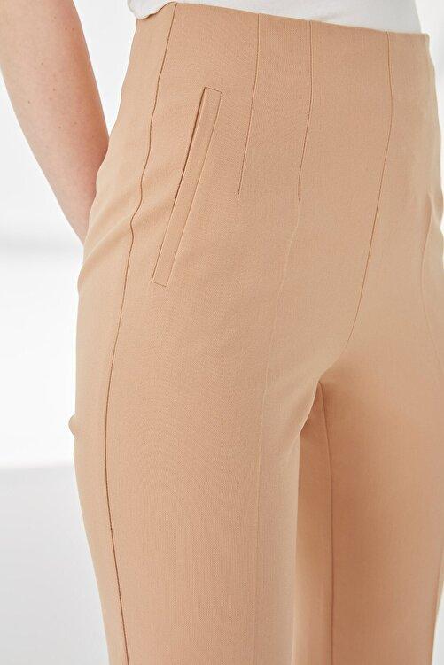 Journey Kadın Camel Pervaz Kemerli Yandan Fermuarlı Ön Pens Detaylı Duble Paça Pantolon 2