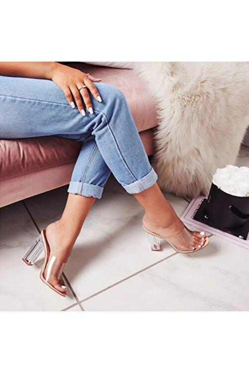 TrendyAnka Kadın Nude Ten Bej 10cm Şeffaf Topuklu Yuvarlak Burunlu Stiletto Ayakkabı Terlik 2