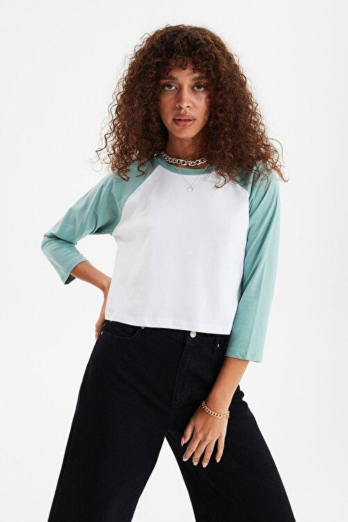 TRENDYOLMİLLA Mint Basic Reglan Kol Örme T-Shirt TWOSS21TS0217 1