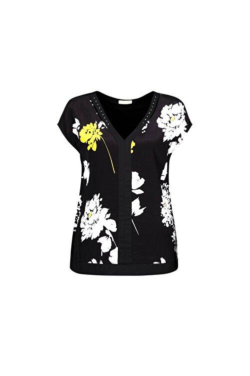 DCZ FASHION Kadın Siyah Çiçek Desenli Taşlı Bluz 1
