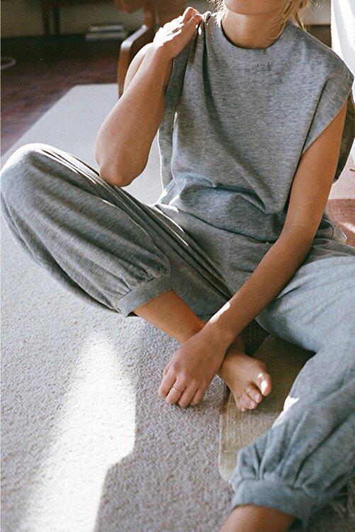 Nare Giyim Kadın Gri Melanjlı Uzun Eşofman Takımı 2