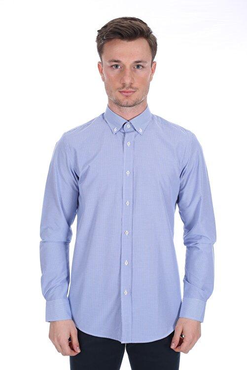 Diandor Erkek Mavi Uzun Kollu Gömlek 1912060 1