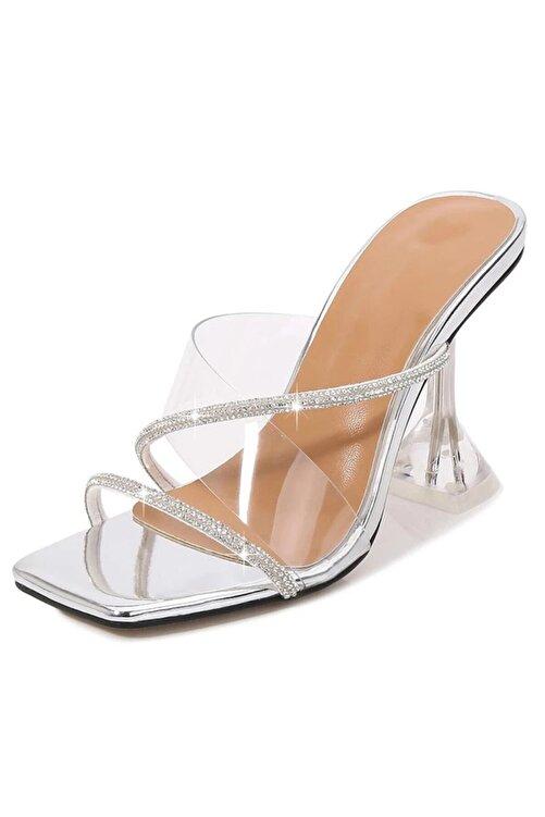 TrendyAnka Kadın Gümüş Nude Beyaz Taba 8cm Şeffaf Topuklu Taşlı Küt Kare Burunlu Stiletto Ayakkabı Terlik 1