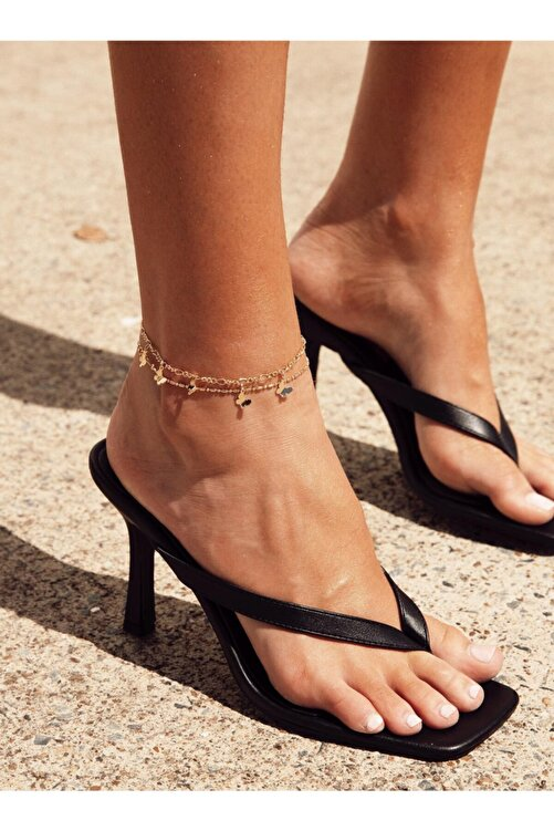 TrendyAnka Kadın Siyah 10cm Topuklu Küt Kare Burunlu Parmak Arası Stiletto Ayakkabı Terlik Sandalet 1
