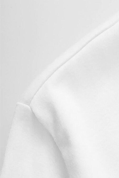 QIVI Küçük Prens Göğüs Baskı Çizgi Film Baskılı Beyaz Erkek Örme Tshirt 2
