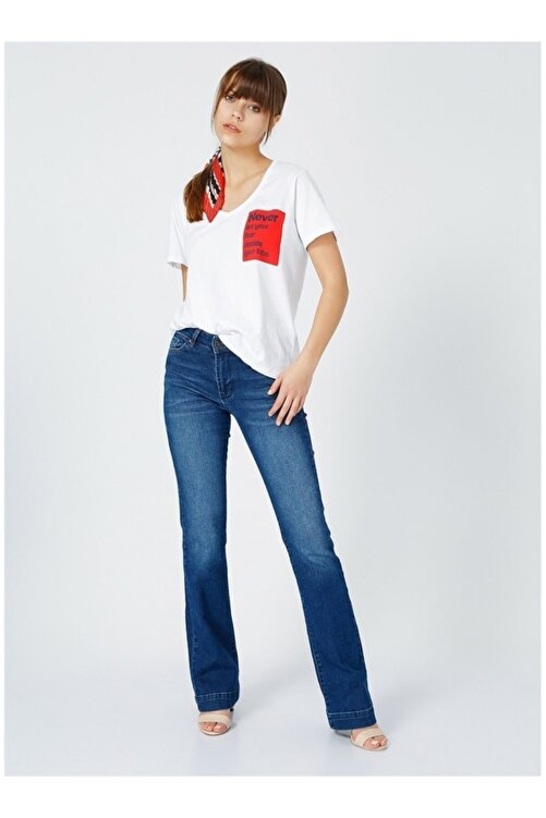 Fabrika Kadın Beyaz Baskılı T-Shirt 2