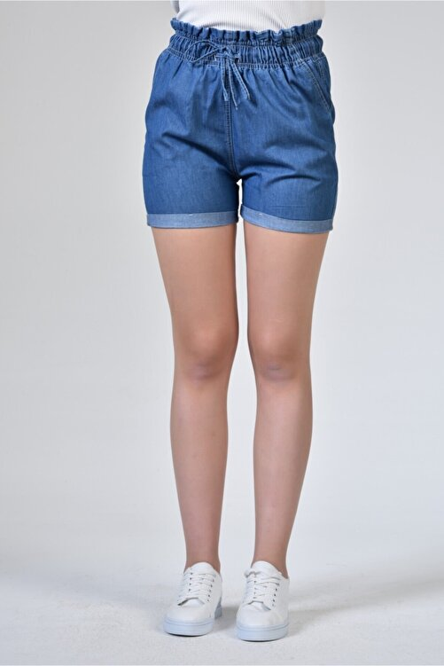 Rodi Jeans Rodi Ds21yb145316 Koyu Mavi Kadın Beli Lastikli Denim Şort 1